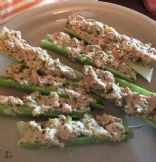 Avocado tuna celery logs