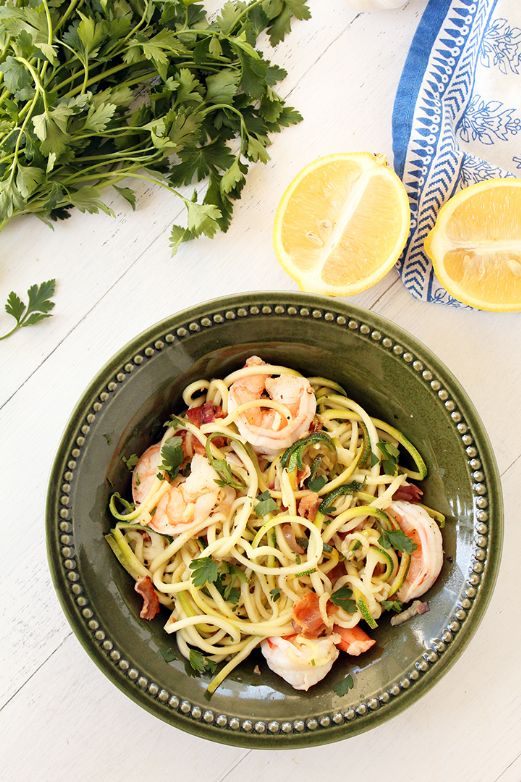 Bacon Shrimp Zoodles Scampi for two (modified from inspiralized.com recipe)