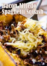 Bacon kissed spaghetti squash alfredo
