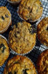 Banana Blueberry Walnut Oatmeal Muffins