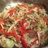 Black Pepper Beef, Cabbage, Mushrooms and Bell Pepper Stir Fry
