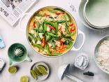 Blue Elephant Green Curry with Bell Peppers and Onions
