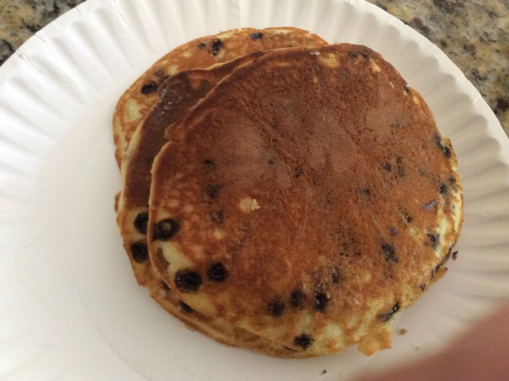 Blueberry 7up pancakes made with Jiffy mix