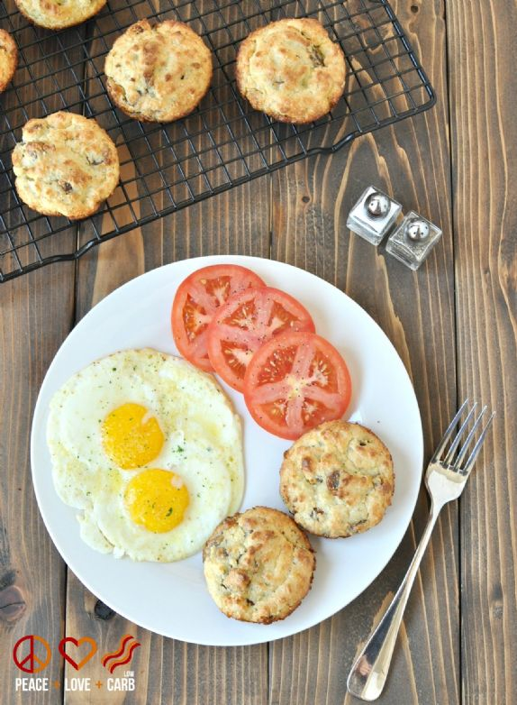Breakfast  biscuits -  cheese &  bacon crumbled low carb and gluten free biscuits