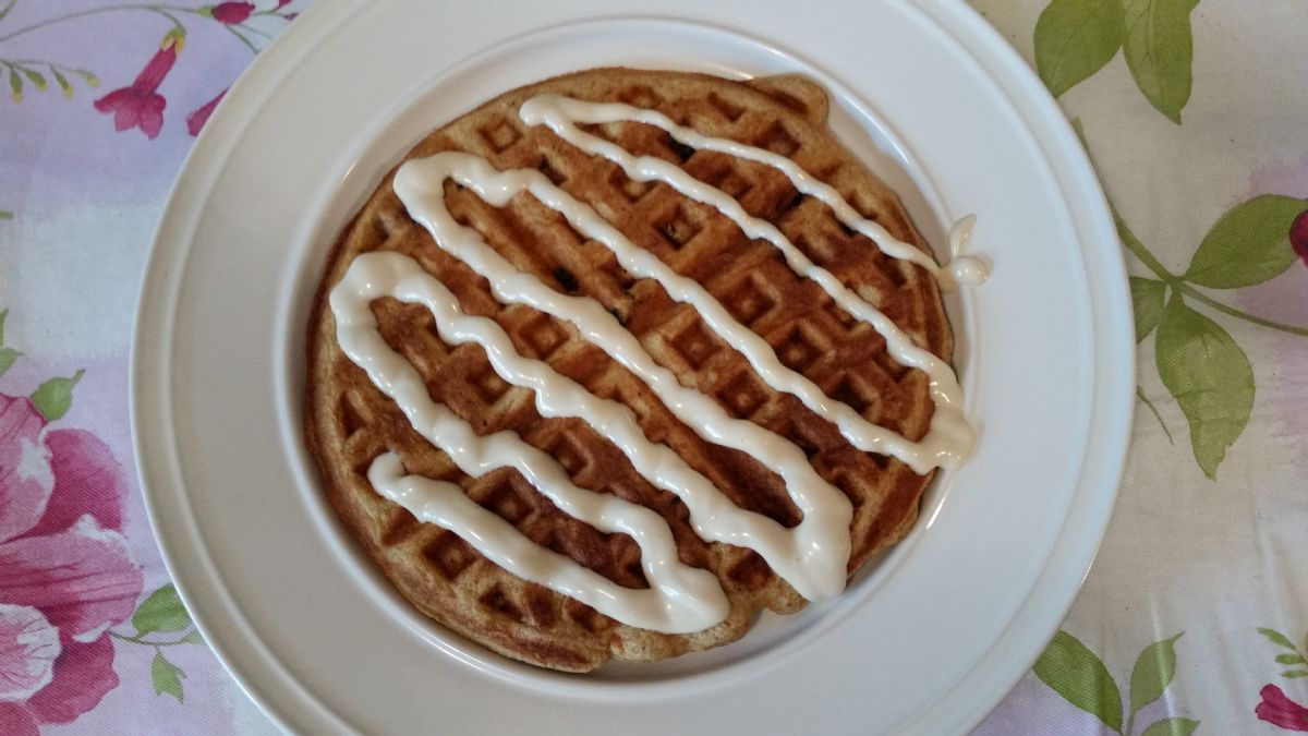 Carrot Cake Waffles with Maple Cream Cheese Icing