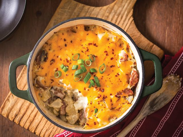 Cheesy potato-and-sausage casserole