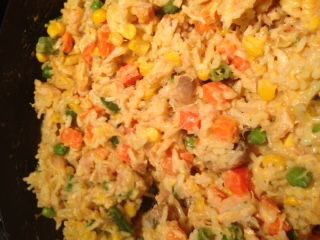 Cheesy tuna rice casserole