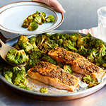 Atkins Baked Salmon With Charmoula Over Broccoli