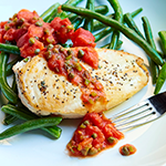 Atkins Spicy Tomato-Jalapeno Chicken Breast with Sauteed Green Beans