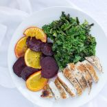 Chicken & Sautéed Kale with Roasted Beet & Orange Slices, Mealime