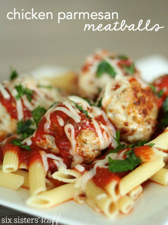 Chicken Parmesan Meatball Dinner - Six Sisters