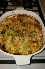 Chicken broccoli cauliflowr rice and cheese casserole