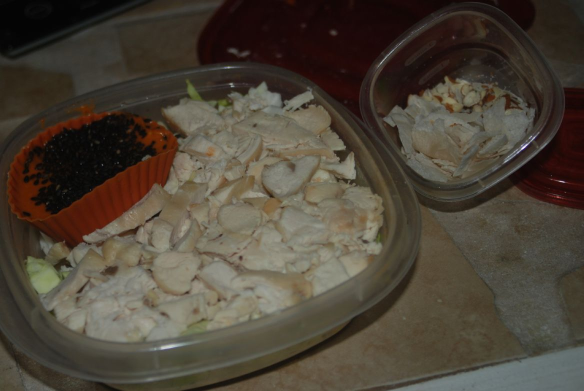 Chicken on Cabbage Salad with Tangy Peanut Dressing