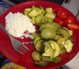 Cooked Courgette + avocado, cottage cheese, cherry tomato