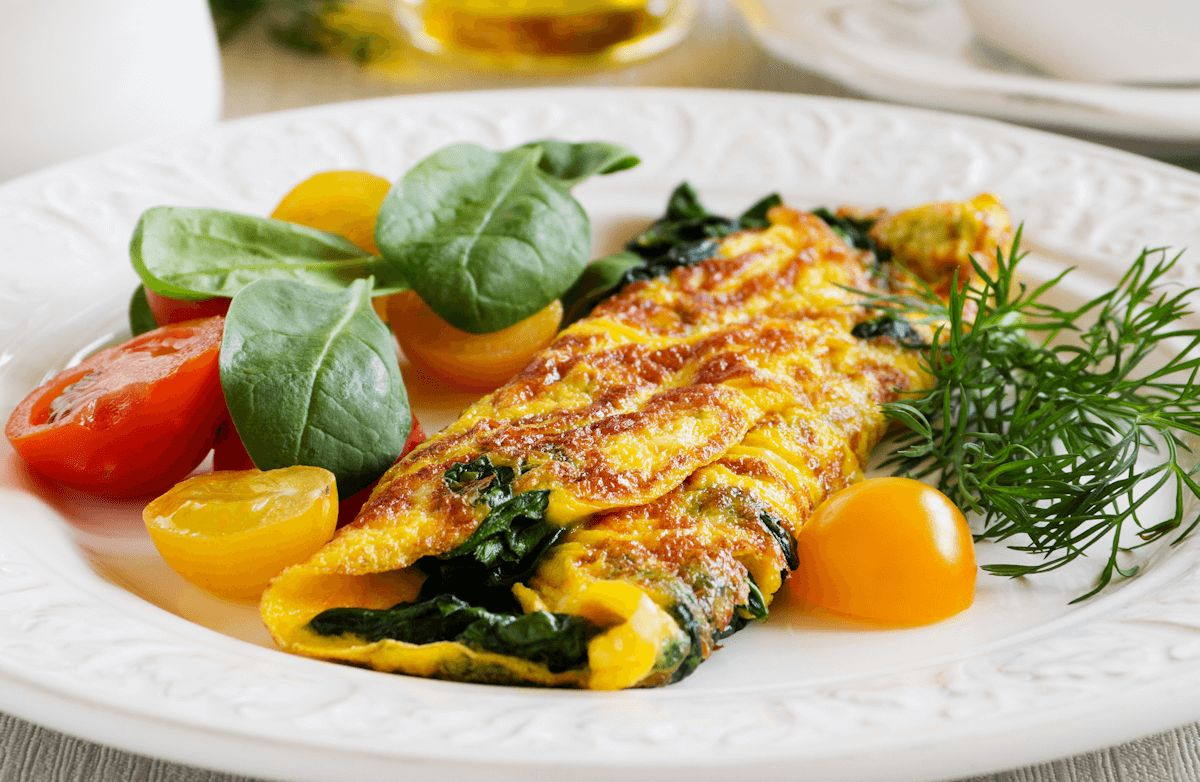 Cottage Cheese, Spinach and Tomato Omelet