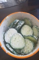 Creamy dill cucumber salad for one