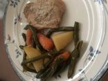 Crock Pot Roast Pork Chops, Potatoes, Carrots, & Green Beans
