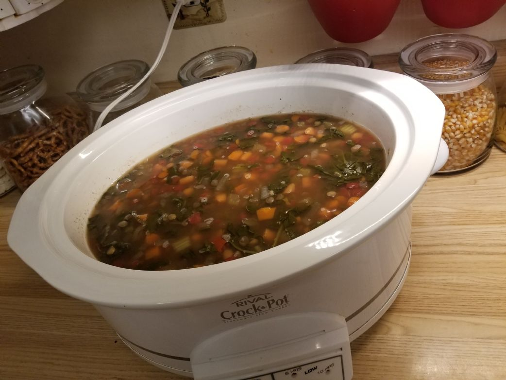 Crock Pot Spinach & Lentil Soup