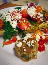 Delicata Squash with Herbed Turkey and Feta Meatballs
