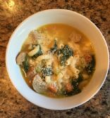 Easy Italian Wedding Soup for Two with Turkey Meatballs