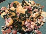 Egg White Scramble with Swiss Chard and Olympia Provisions Summer Sausage