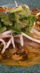 Faux Pho with chicken and veggies (Glass noodles optional)