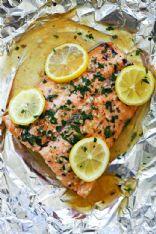 Garlicc lemon butter salmon packet