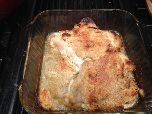Italian Baked Chicken (sour cream, cheese, bread crumbs)