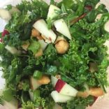 Kale Apple Salad with trail mix, cashews and Maple Dressing