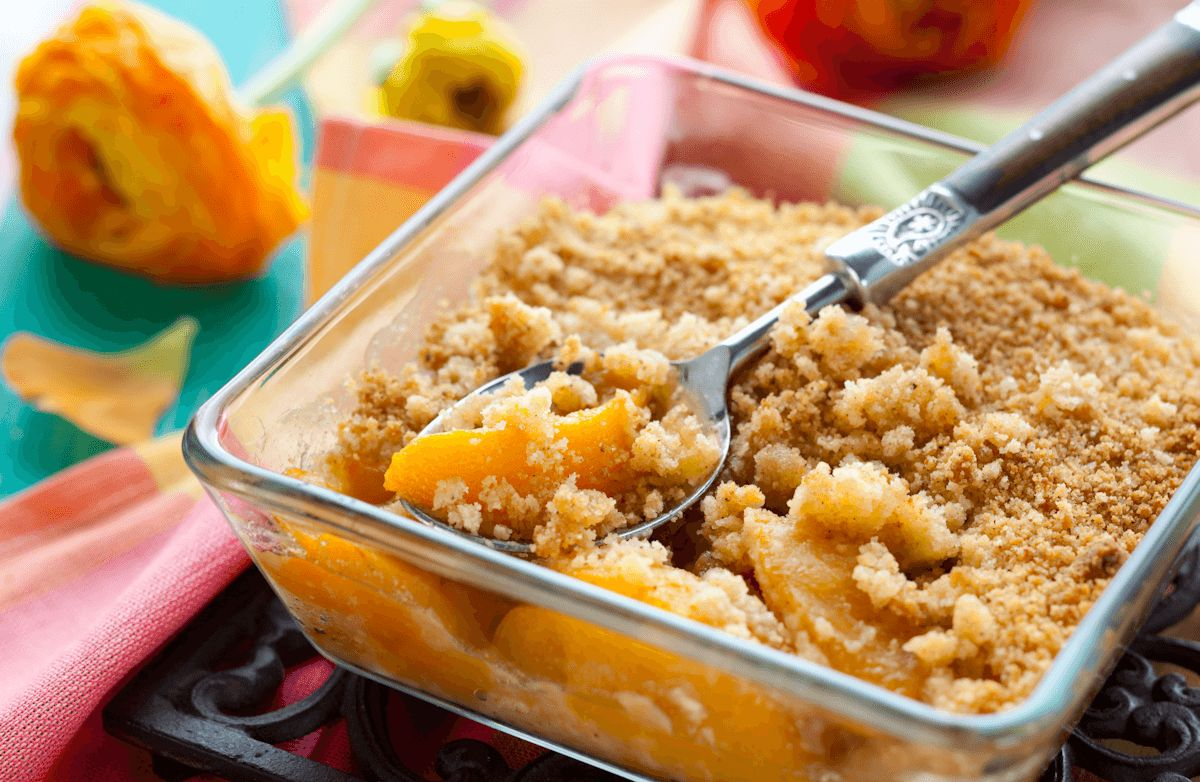 Katie S Summer Peach Crisp Recipe Sparkrecipes
