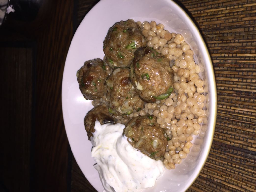 Lamb Meatballs with Whole Wheat Pearl Couscous and Lemon-Cumin Yogurt
