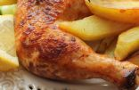 Lemon Garlic Roasted Chicken and Potato Wedges