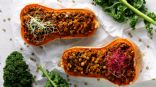 Lentil and feta stuffed butternut squash