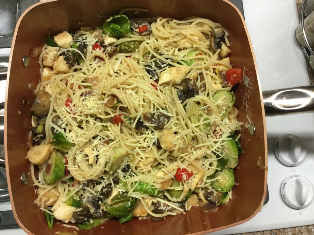 Mediterranean Spaghetti with Scallops and Brussel Sprouts