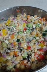 Mediterranean salad with chickpeas and couscous