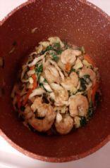 Mock shrimp spring roll in a Bowl