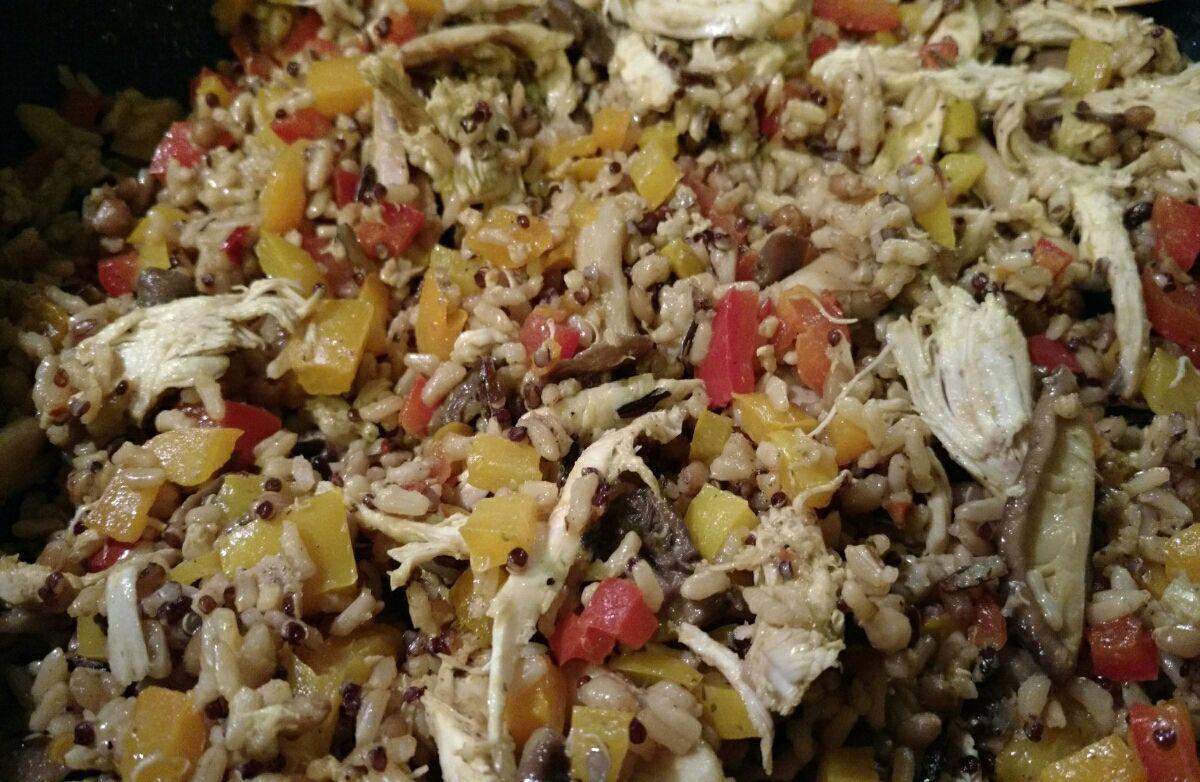 Mushroom, pepper, and rice skillet