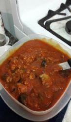 My spaghetti sauce (olives, prego, ground turkey)  1.5  c. Serving