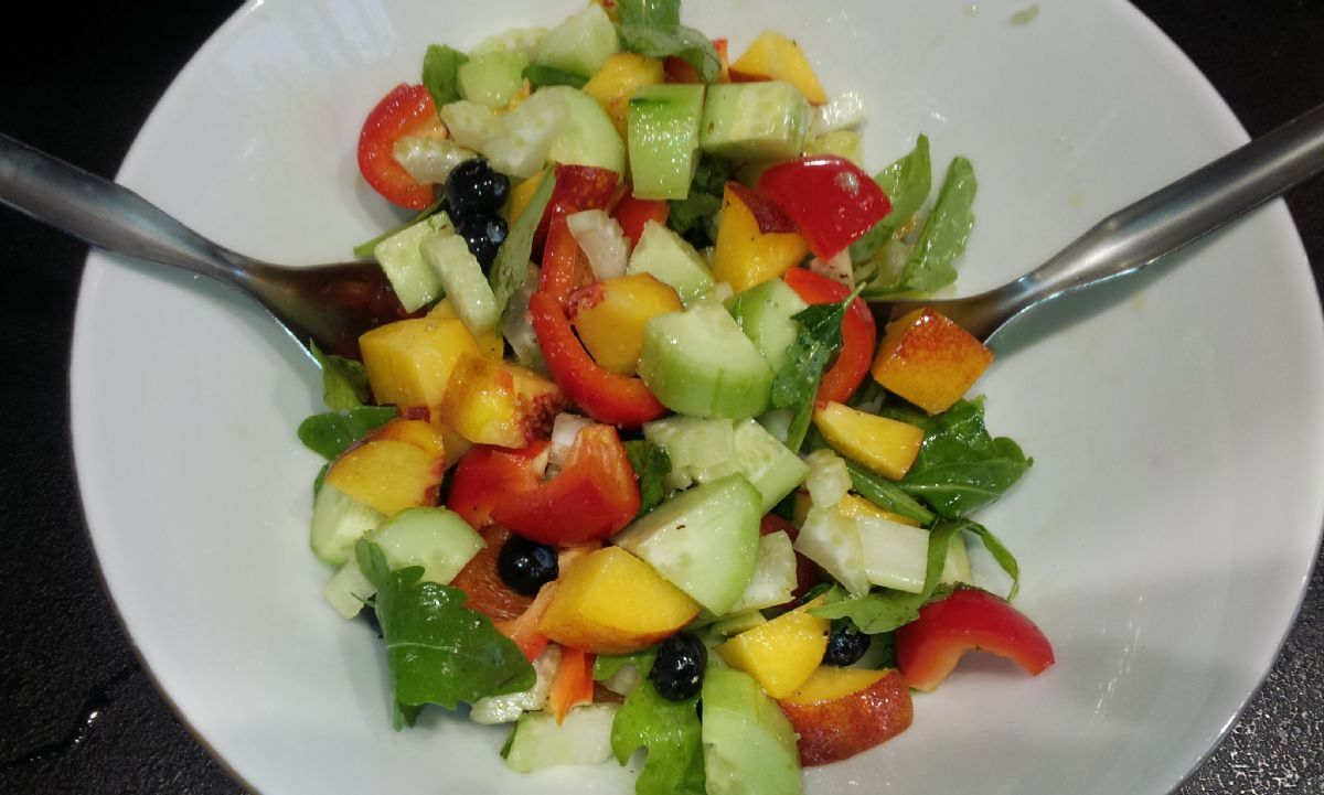 Nectarine and Blueberry Summer Garden Salad