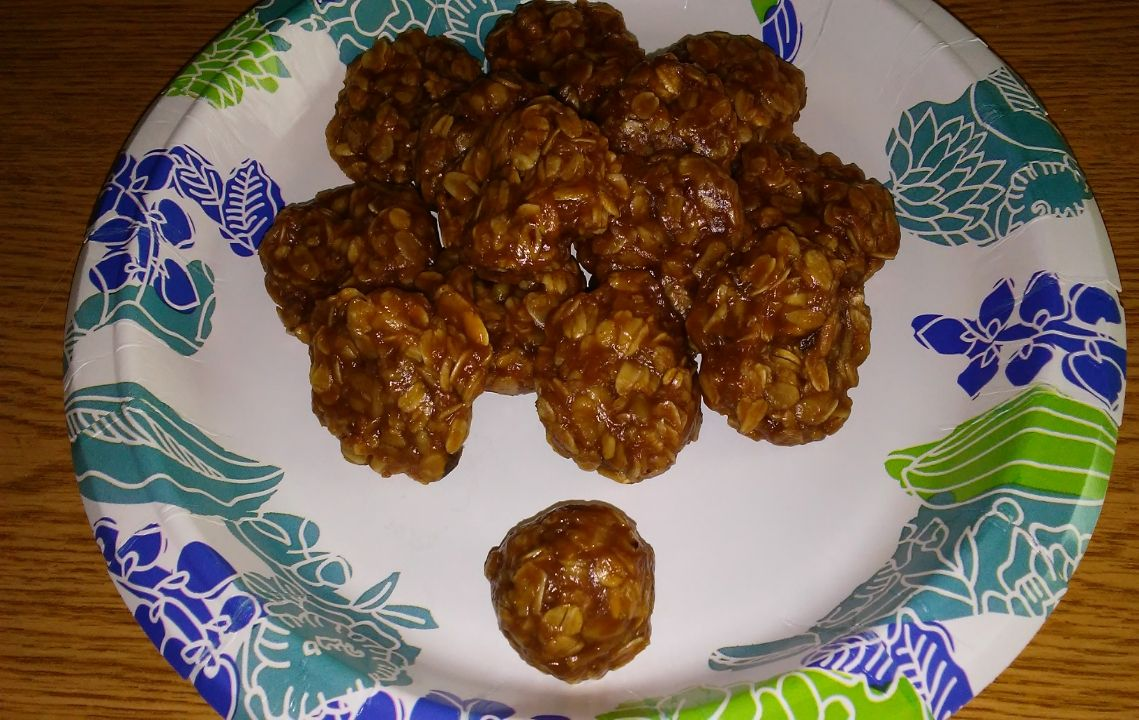 No Bake, 3 ingredient, nowREDUCED SUGAR RECIPE, Oatmeal, PeanutButter Cookies (REVISED by Pandorass)