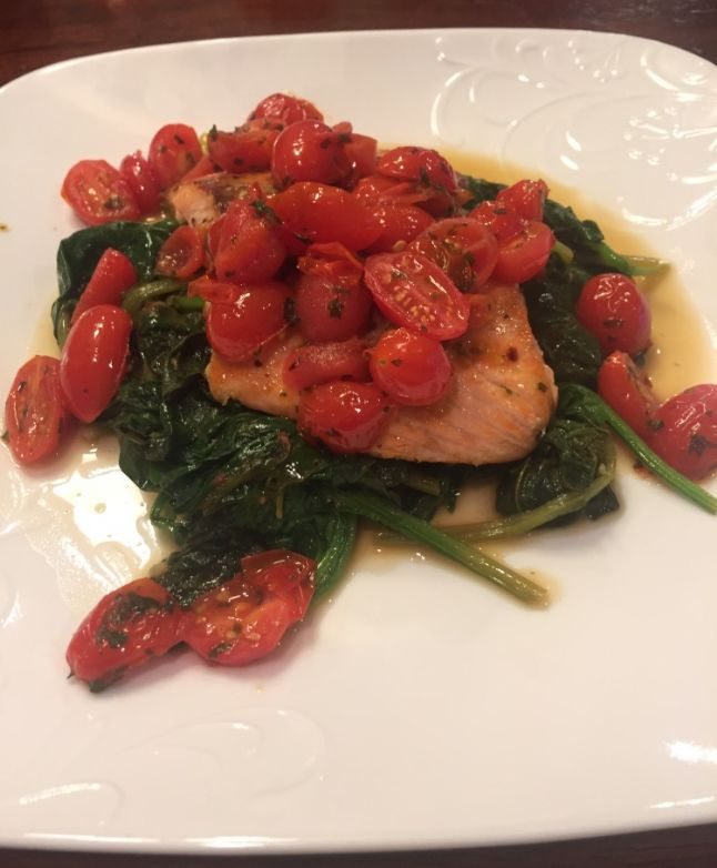 Pan Seared Salmon with Sauteed Spinach and Tomatoes