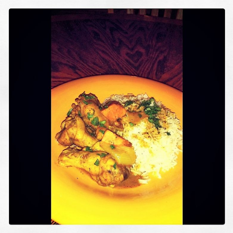 Peanut Butter curry wings & Basmati rice