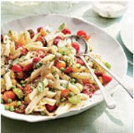 Penne with Herbs, Tomatoes, Peas, and Chicken
