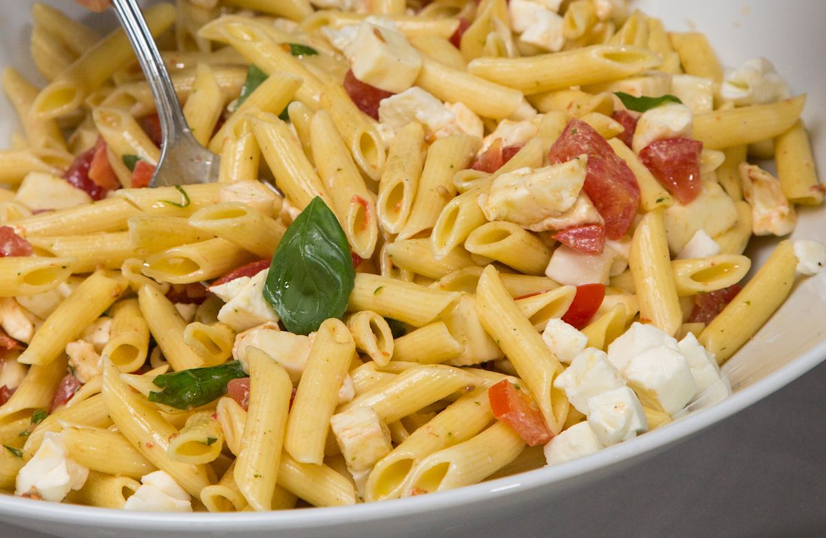 Penne with Tomato and Feta Recipe | SparkRecipes
