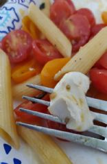 Penne with fresh tomato, basil, and mozzarella