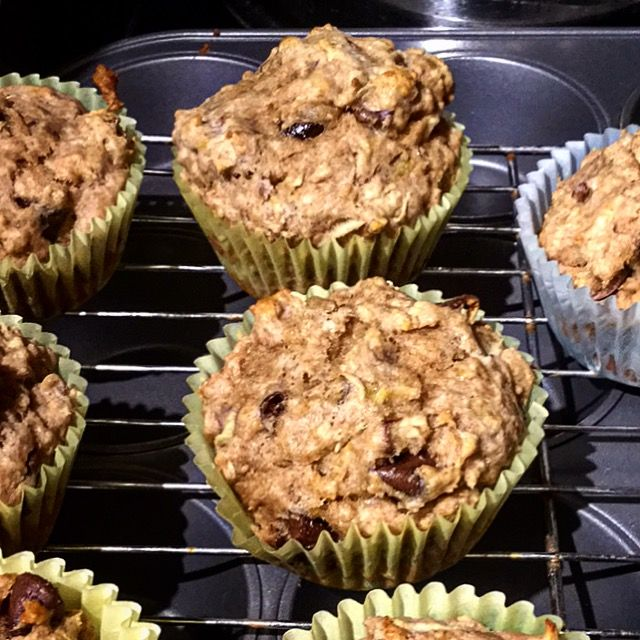 Persimmon Apple Oatmeal Pecan Muffins