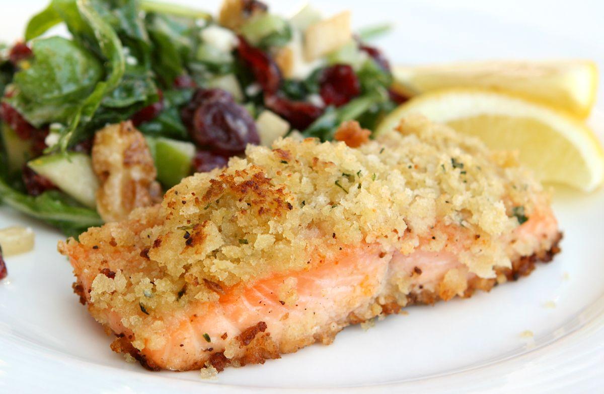 Pistachio crusted salmon recipe sparkrecipes for Pistachio crusted fish
