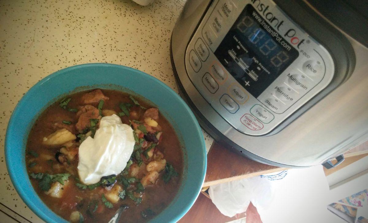 Pork Stew with Black Beans & Sweet Potatoes (Instant Pot) (THM-E)
