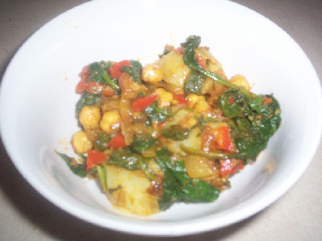 Potato, Chickpea, and Spinach Jalfrezi
