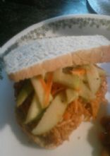 Pulled chicken bbq sandwich with Apple slaw